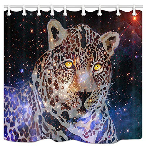- Outer Space Galaxy Fantasy Animals Shower Curtain, Watercolor Leopard in Starry Night Nebula Universe Bath Curtain, Fabric Shower Curtains for Bathroom, 69X70in, Hooks Included
