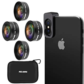 buy online 41d54 e1241 NELOMO Cellphone Camera Lens 4 in 1 Phone Lenses Kit Compatible with iPhone  XR X 8 Samsung Galaxy S9 S8 Huawei P20 P10 20X Macro Lens, 2.0X Zoom ...