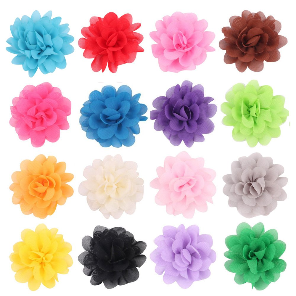 PET SHOW 2'' Plain Flowers Small Dogs Hair Bows With Clips Pet Medium Large Dogs Puppies Girls Cats Hair Clips Grooming Accessories Party Costumes Pack of 16