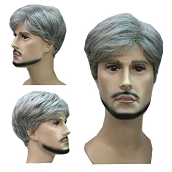 Kolight Hot Fashion Short Curly Gray Gloomy Flaxen Men Wigs Natural Looking Synthetic High Quality Hair Wig