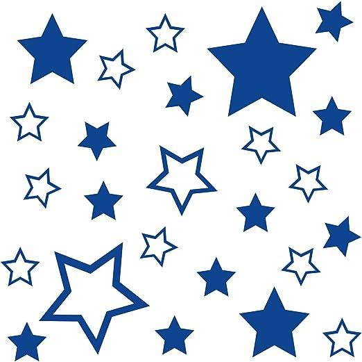 Kleb Drauf 25 Sterne Blau Glänzend Autoaufkleber Autosticker Decal Aufkleber Sticker Auto Car Motorrad Fahrrad Roller Bike Deko Tuning Stickerbomb Styling Wrapping Auto