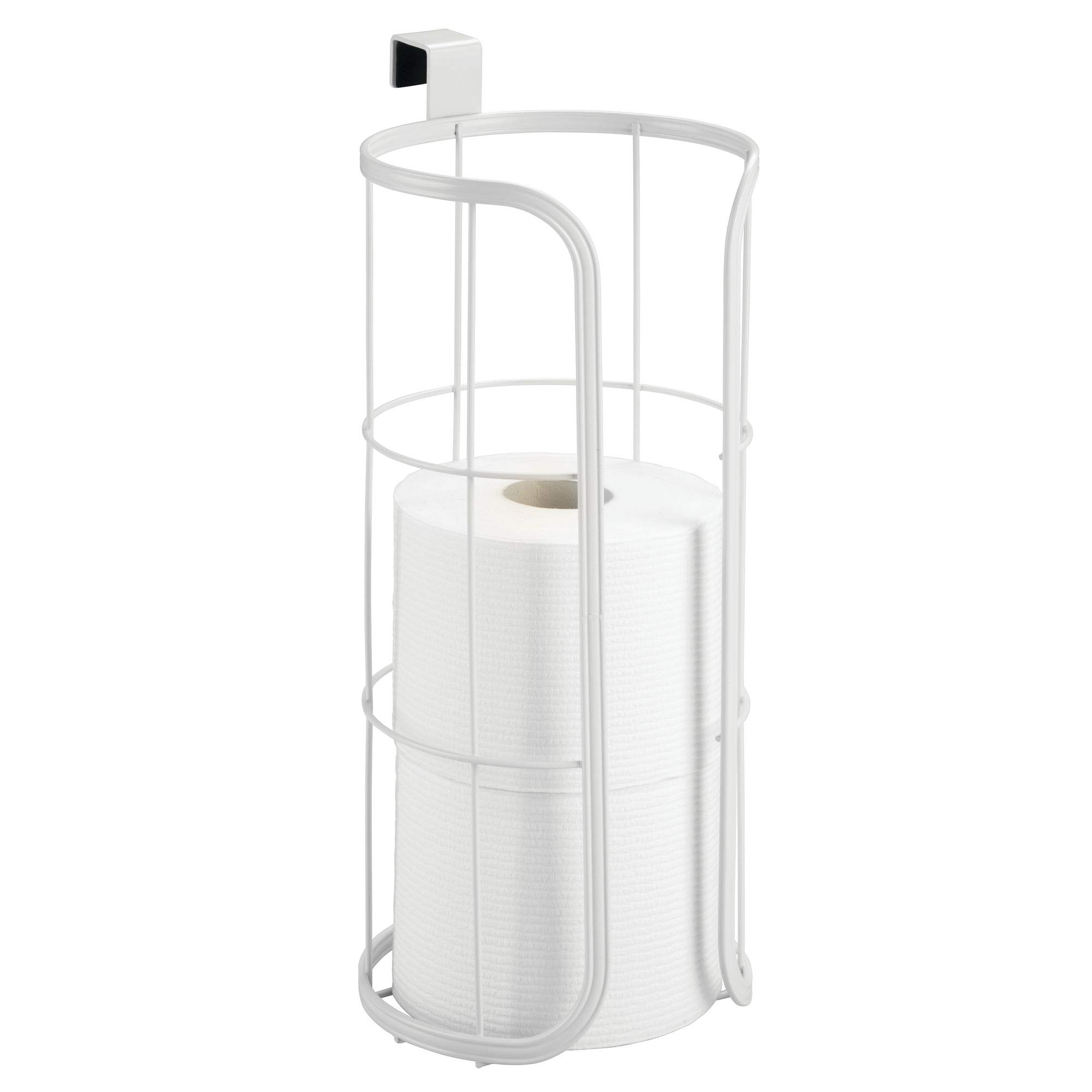 mDesign Modern Over the Tank Hanging Toilet Tissue Paper Roll Holder and Reserve for Bathroom Storage and Organization - Stores Three Extra Rolls, Holds Jumbo-Sized Rolls - Durable Metal Wire in White