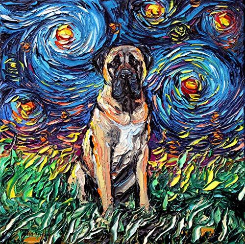 Night Art Ready to Hang Canvas Wall print colorful dog art Aja 8x8, 10x10, 12x12, 16x16, 20x20, 24x24, 30x30 inches ()