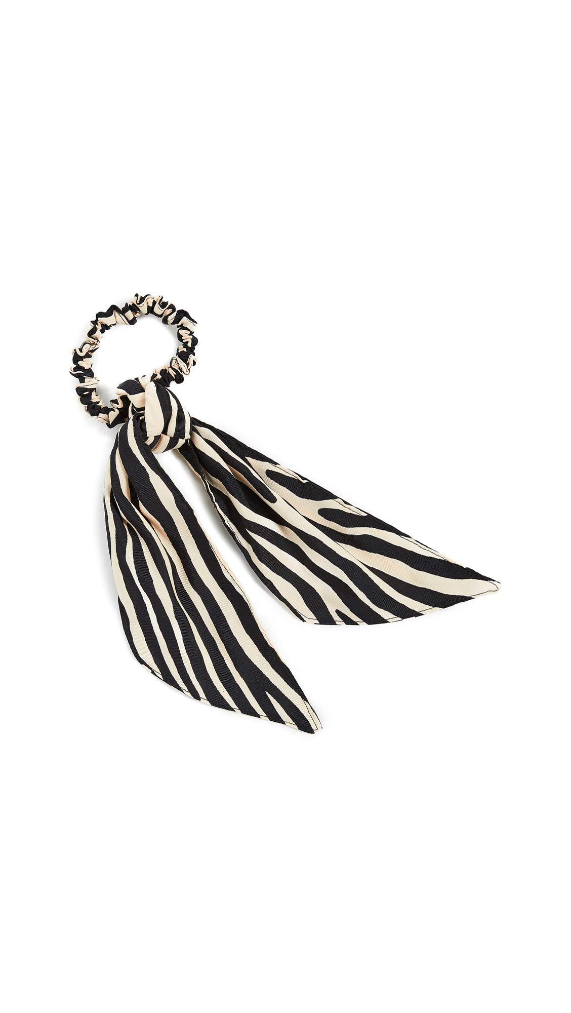Loeffler Randall Women's Evie Elegant Bow Scrunchie, Zebra, Print, Off White, One Size by Loeffler Randall