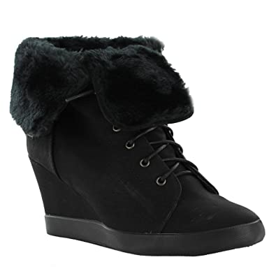 New Ladies Concealed Wedge High Top Ankle Sneakers Furry Trainers Size UK 3 4 5 6 7 8