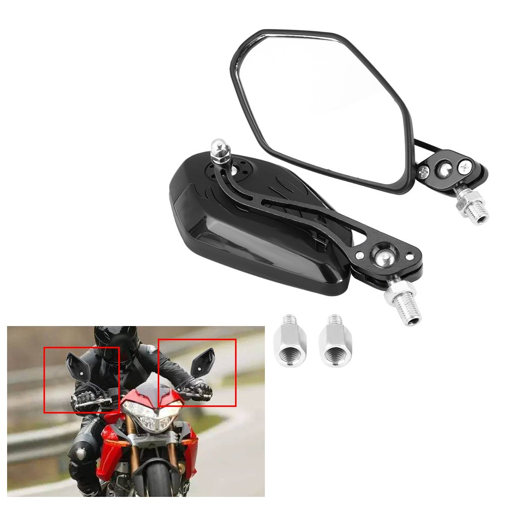 Yellow 1 Pair 8mm 10mm Motorcycle Mirrors Universal Wing Mirrors Scooter Rear View Mirrors Side View Mirrors Aluminum Flame Pattern