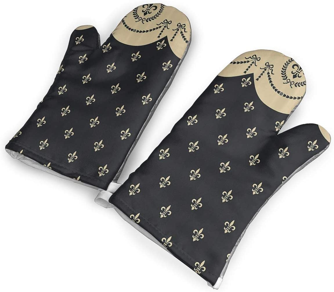 Fleur De Lis Oven Mitts,Professional Heat Resistant Microwave Oven Insulation Thickening Gloves Baking Pot Mittens Soft Inner Lining Kitchen Cooking
