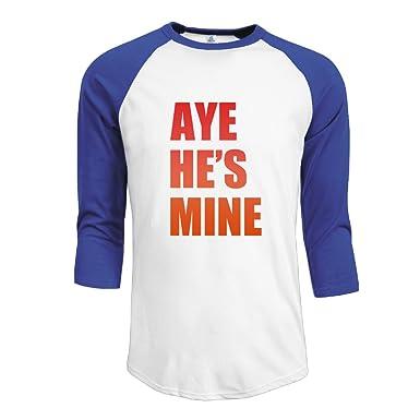 731c06d9 Man's Aye He's Mine Cotton 3/4 Sleeve Raglan T-Shirt RoyalBlue Small