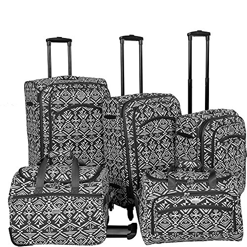 american-flyer-aztec-spinner-luggage-set-5pc-red-black-white