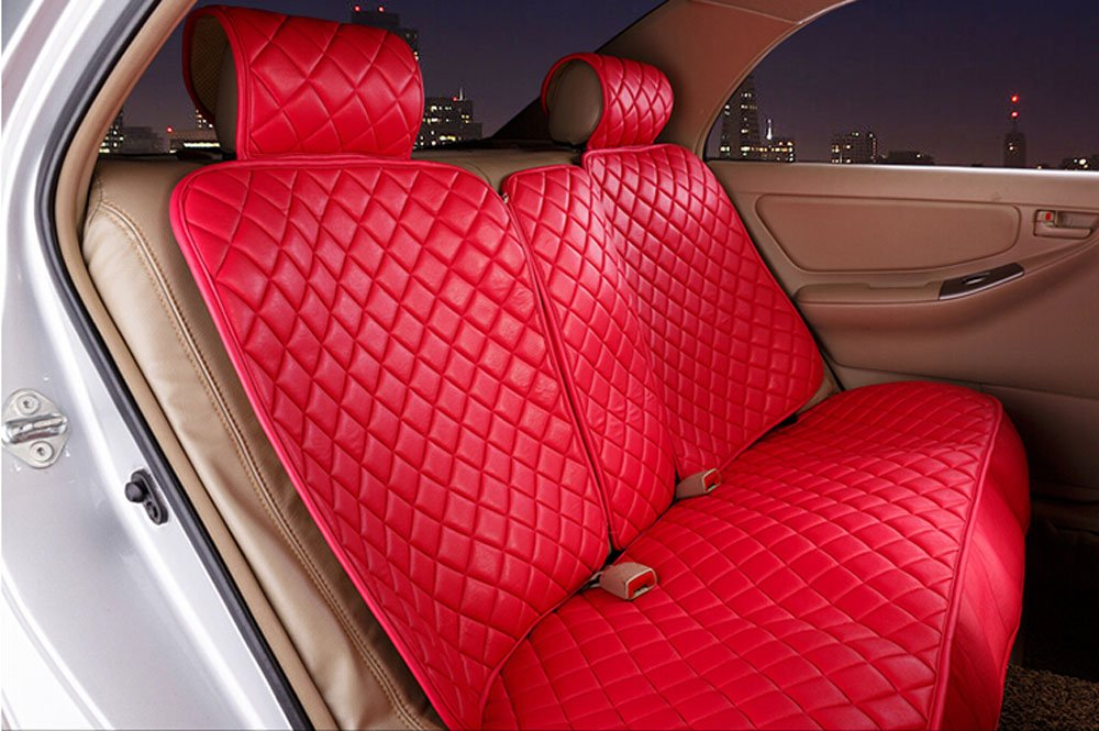 18pc superior quality luxury red Seat Covers imitation leather Seating Universal Full Set car seat cover Easy to install Fit Most Car by Maimai88 (Image #2)