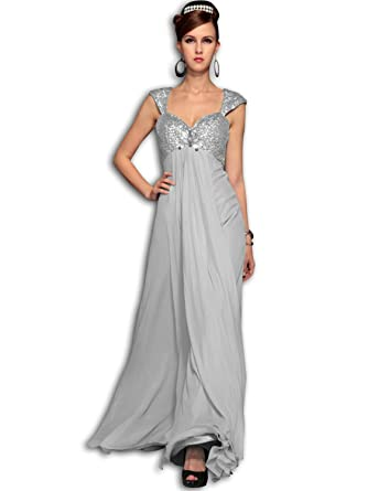 VILAVI Womens Sheath Chiffon Floor-length Flower Prom Dresses UK 26 Silver
