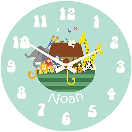 personalised children s noah s ark clock bedroom wall clock kids