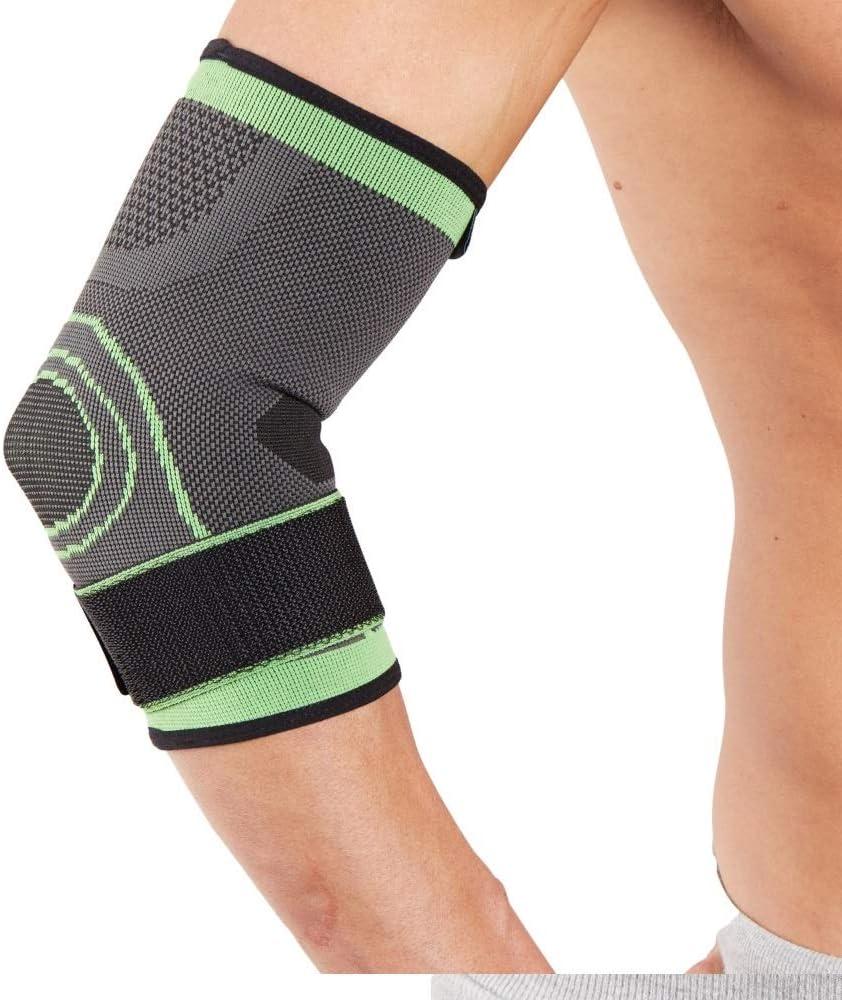 Órtesis codera tubular deportiva para codo de tenista Actesso – Perfecta para reducir el dolor y brindar soporte para codo de tenista, codo de golfista o esguinces de codo en general (Grande, Verde)