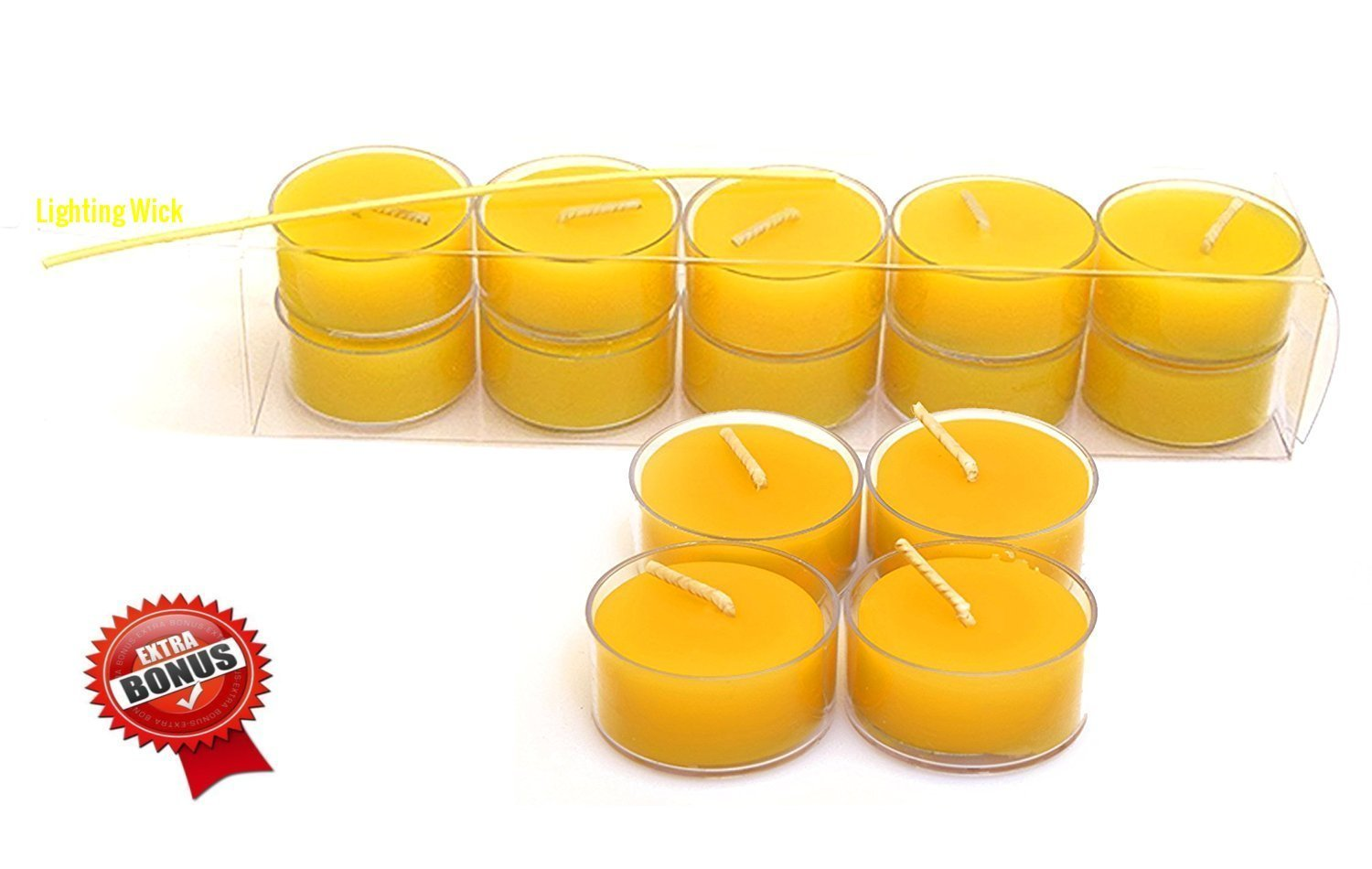 100% Pure Original Refined Beeswax Tea Light Candles with Spacial Chemical Free 100% Cotton/Beeswax Wick *BOUNS* Get a free DRIPLESS beeswax lighter Wick Pure Bee