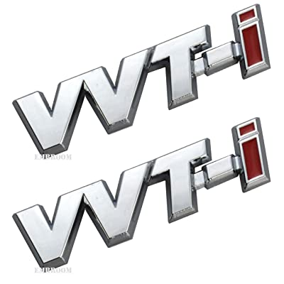 2Pcs VVT-I Emblems Badge 3D Metal Car Side Fender Rear Trunk Logo Sticker Decal Replacement for Is Es Rx Tundra 4Runner (Black Red): Automotive