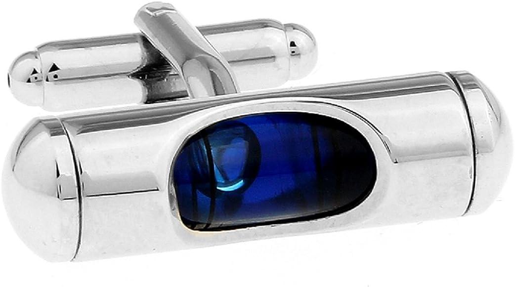 MRCUFF Level Blue Liquid Construction Pair Cufflinks in a Presentation Gift Box & Polishing Cloth