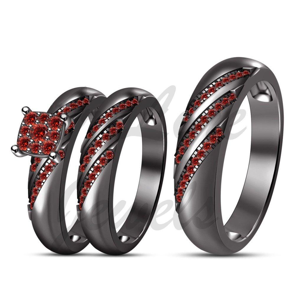 ArtLine Jewels Round Cut Red Garnet Trio Ring Set His & Her Trio Wedding Band 14k Black Gold Engagement