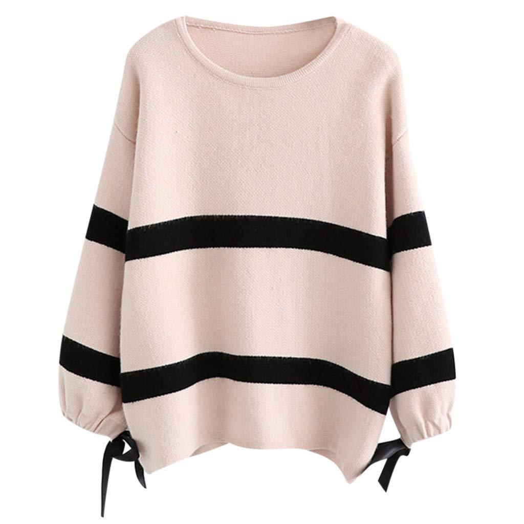 FEDULK Womens Knit Sweater Long Sleeve Crew Neck Stripe Autumn Winter Versatile Loose Casual Blouse Tops(Black) by FEDULK