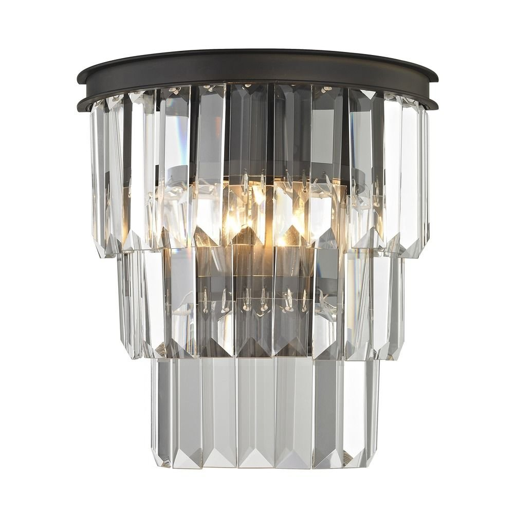 Tiered Crystal Sconce with 2 Lights Bronze