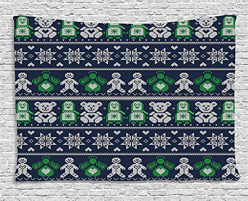 Gingerbread Teddy - THndjsh Christmas Tapestry, Scandinavian Style Stitch Penguins Teddy Bears Angels Gingerbread Man, Wall Hanging for Bedroom Living Room Dorm, 60 W X 40 L Inches, Dark Blue Green White