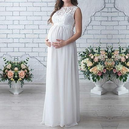 QinMM Vestido Premamá, Largo de Encaje de Mujer Embarazada, de Maternidad Apoyos de fotografía Ropa Larga Maternidad y de Lactancia: Amazon.es: Ropa y ...