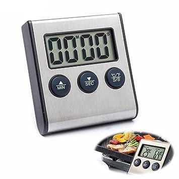 Digital termómetro de carne, hostweigh cocinar alimentos termómetro integrado reloj temporizador de cocina con sonda de acero inoxidable para barbacoa horno ...