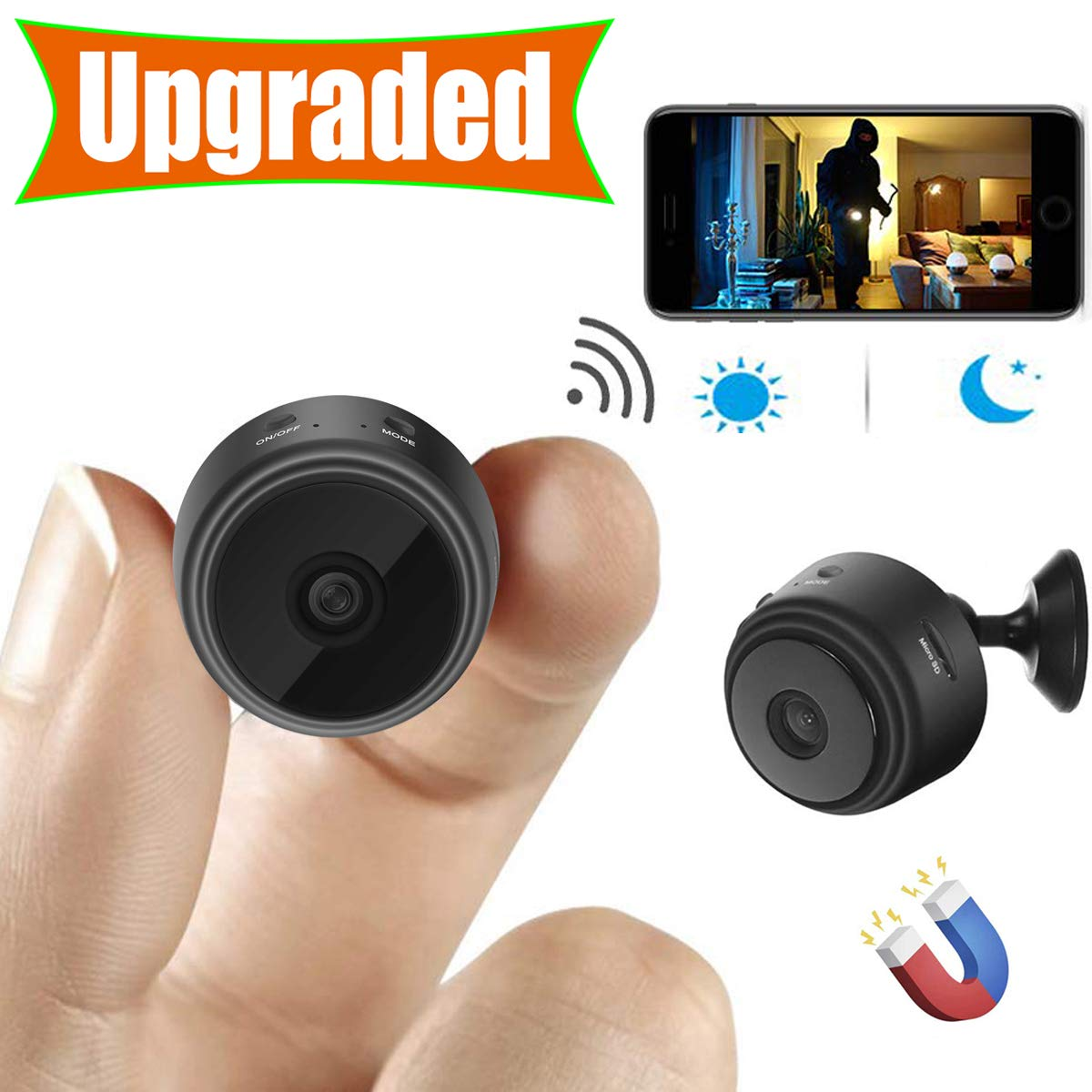 [Upgraded] Spy Camera Wireless Hidden Cameras Mini WiFi Cam HD 1080P Small Nanny Cams Home Security Battery Powered Motion Detection Nigh Vision Remote View by Android/iPhone/PC