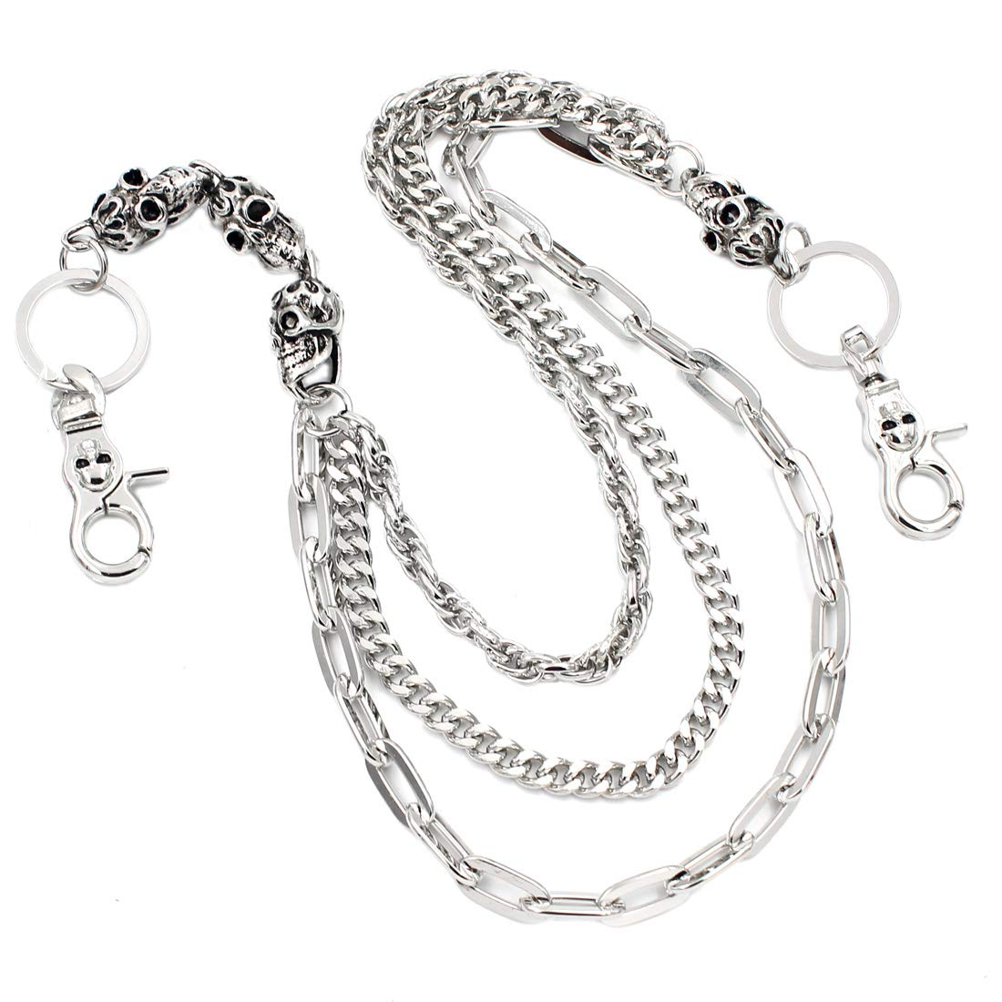 Uniqsum Fire Skull charm Triple links wallet chain Biker Key chains (Silver)