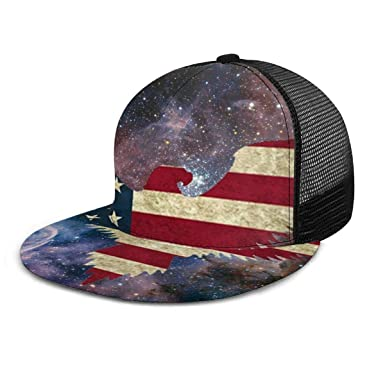 Bald Eagle American Flag 7 Mens Womens Trucker Hats Casual Snapback Flat Brim Cap