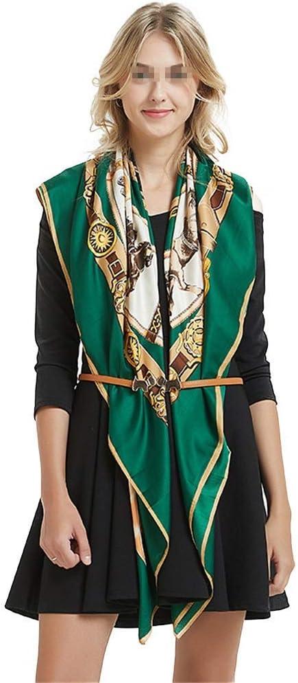 YGB Acogedoras Mujeres Grandes de satén Cuadrado Seda sensación de Pelo Bufanda Cadena Caballo Sarga Seda Bufandas 130 cm térmico (Color: Verde, tamaño: 130 * 130 cm)