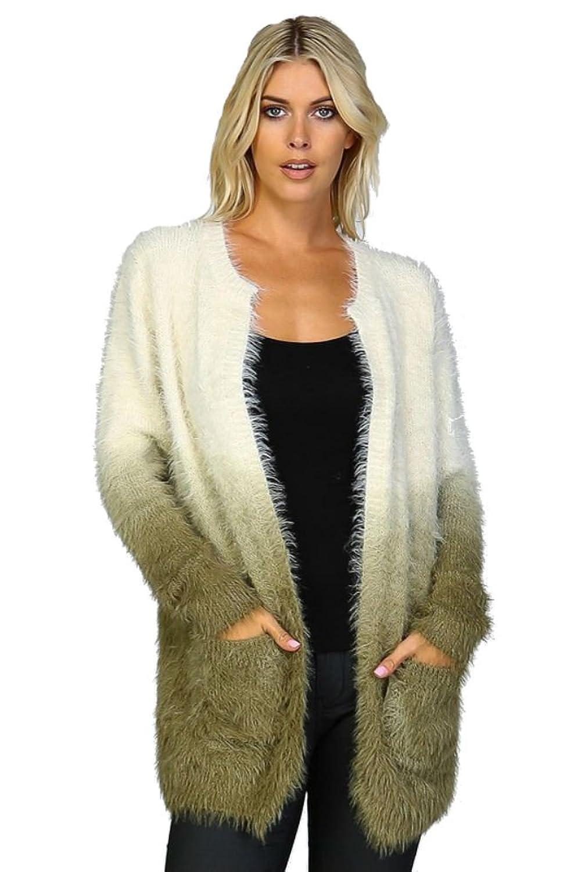 Ginga's Galleria Women's Ombre Shaggy Fur Open Cardigan Sweater