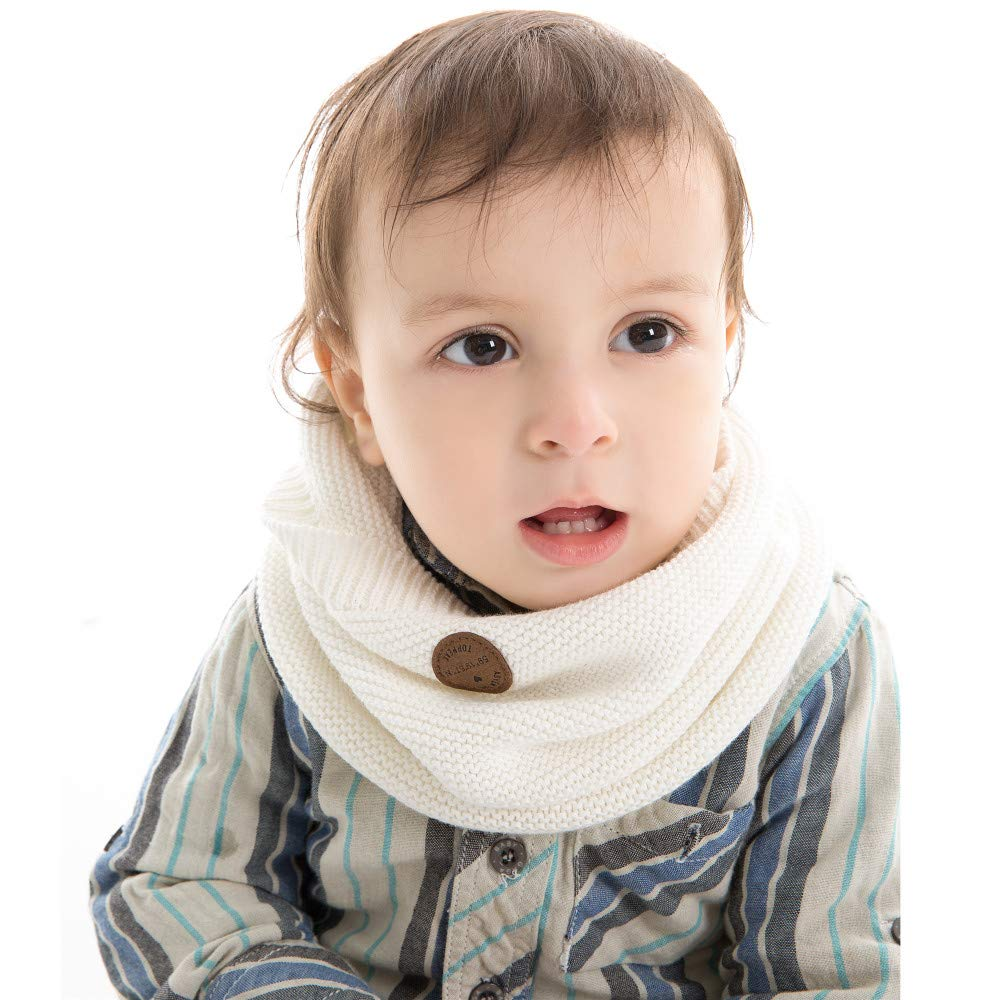 XIAOHAWANG Baby Winter Scarf Kids Thick Knit Scarves Toddler Neckerchiefs Lovely (White)