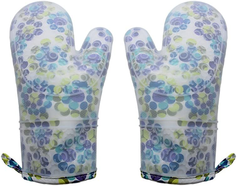 Lanburch Set of 2 Oven Mitts Heat Resistant Silicone Cute Colorful Dot Oven Gloves Waterproof Silicone Kitchen Mitts