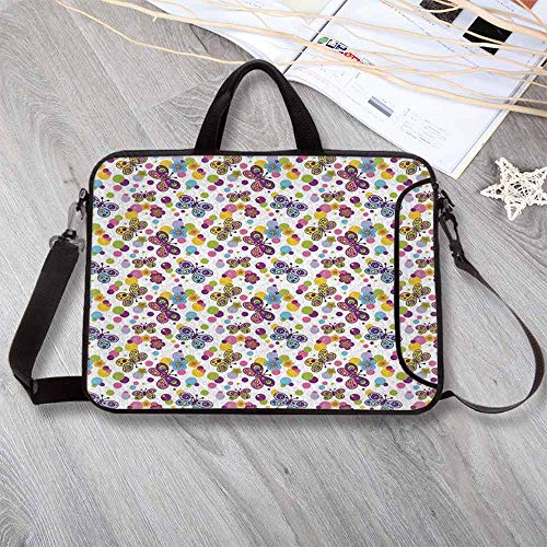 (Butterfly Anti-Seismic Neoprene Laptop Bag,Vibrant Flora Patterned and Polka Dotted Background with Vintage Inspired Animals Decorative Laptop Bag for Travel Office School,17.3