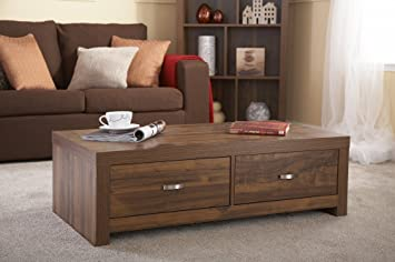 Home Source Clean Cut Dark Wood Tone Acacia Effect Coffee Occasional Table With 2 Drawers