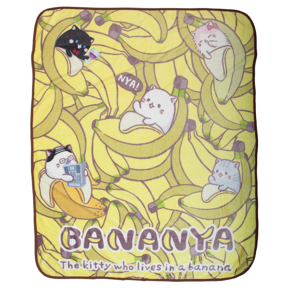 Bioworld Bananya The Kitty Who Lives in A Banana Throw Blanket
