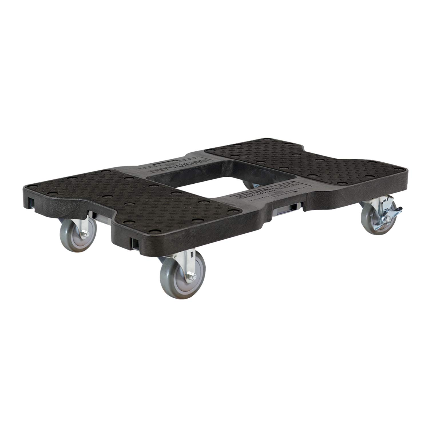SNAP-LOC Dolly Black (USA!) with 1500 lb Capacity, Steel Frame, 4 inch Casters and Optional E-Strap Attachment