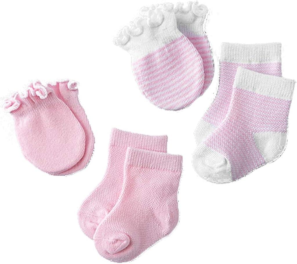 Fxikun Set of Cute Anti-Scratch Mittens for Newborns 0 to 12 Months Mittens and Socks