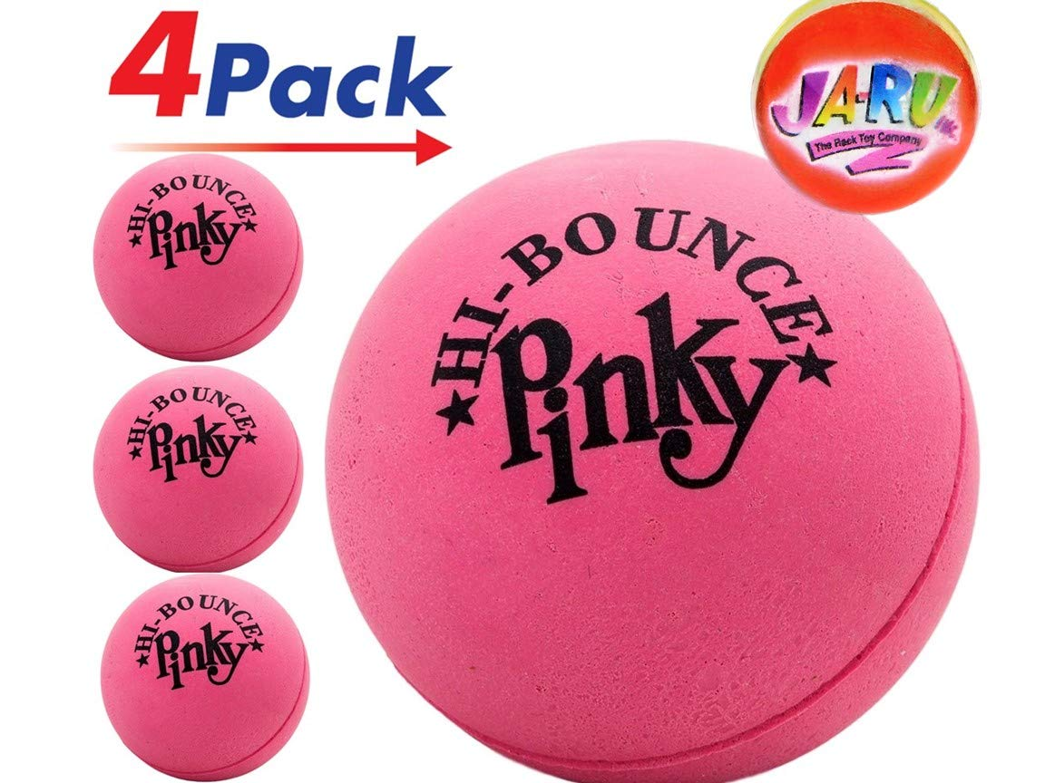 Pinky Ball (Pack of 4) 2.5'' Hi Bounce Large Pink Rubber Balls for Play or Massage Therapy. Plus 1 Small JA-RU Ball. #976-4p by JaRu