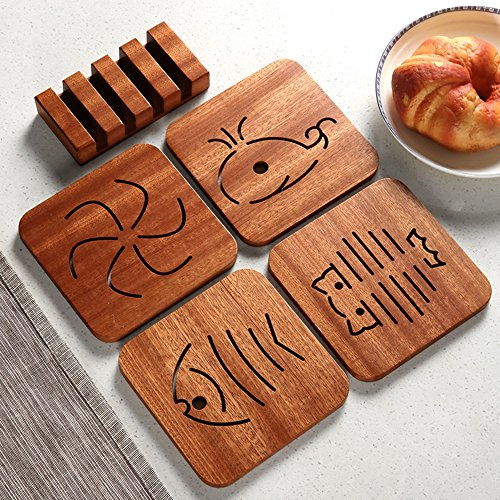 Wood Coasters Holder,Slotted Wood Coaster Stand Holds 4 Square Coasters - Raw Wood by HOPEBIRD (Image #3)