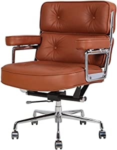 Genuine Leather Executive Office Chair, Ergonomic Mid Back Computer Desk Chair Adjustable Swivel Task Chair with Armrest for Home Office Furniture (Brown)
