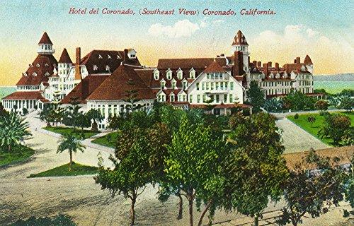 Coronado, California - Southeastern View of the Hotel del Coronado (12x18 SIGNED Print Master Art Print w/Certificate of Authenticity - Wall Decor Travel Poster)