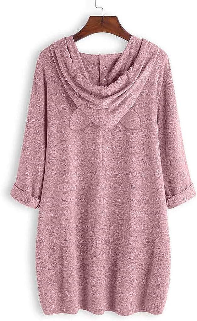 Yivise Women Girl Hoodies Cute Cat Ear Novelty Printed Pullover Sweatshirt M-5XL Pink