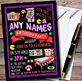 Black Retro Arcade Game Personalized Childrens Birthday Party Invitations