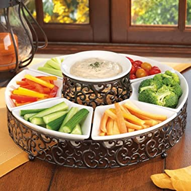 Elegant Chip and Dip Serving Set Ceramic and Pressed Metal