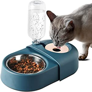 Godsichong Pet Automatic Feeder and Water Dispenser,Stainless Steel Dog Cat Food Bowl and Waterer Set 500ML,2 in 1 Detachable Meal Dispensers for Self Small Medium Big Pets,Blue