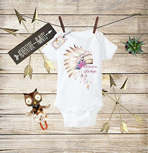 Boho Baby Clothes Wild One Bodysuit Wild One Baby Boho Bodysuit Indian Chief Headdress Outfit Toddler T-shirt Baby Shower Gift Custom Clothes Infant Bodysuit Baby Boho Clothes Baby Boho Designs (Best Indian Suits Design)