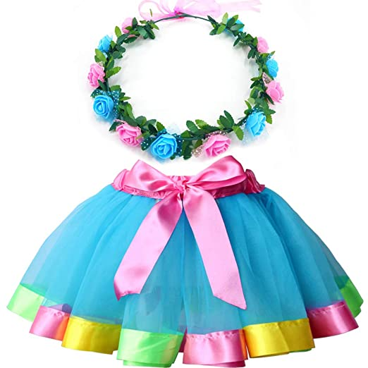 47c932763 Amazon.com: MY-PRETTYGS Layered Tulle Ballet Rainbow Tutu Skirt with Flower  Crown Wreath Headband: Clothing