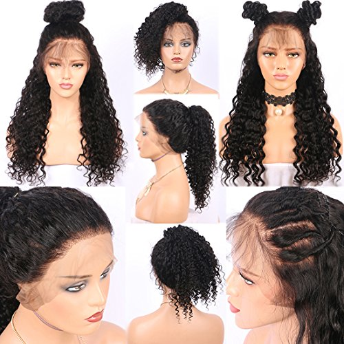 Friya Glueless Kinky Curly Lace Front Wig Swiss Lace Part Handmade Natural Black Color Heat Resistant High Temperature Hair Perruque Party Long Bob Synthetic Lace Wigs For Women 22
