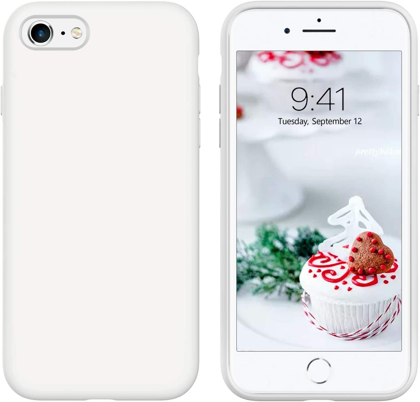 GUAGUA iPhone SE 2020 Case iPhone 8 Case iPhone 7 Case 4.7-inch Liquid Silicone Soft Gel Slim Microfiber Lining Cushion Texture Cover Shockproof Protective Cases for iPhone 8/7/SE 2020 White